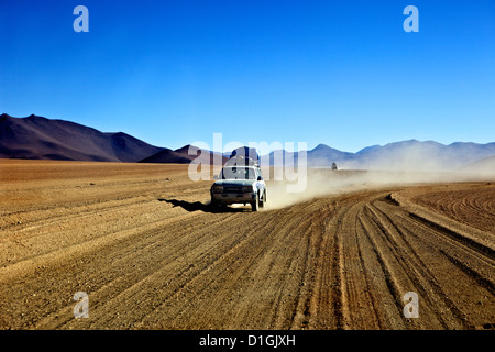 A 4x4 on the Southwest Circuit Tour, Bolivia, South America - Stock Photo