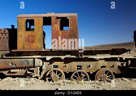 Rusting old steam locomotives at the Train cemetery (train graveyard), Uyuni, Southwest, Bolivia, South America - Stock Photo