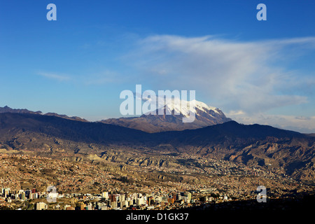 View over La Paz with Mount Illimani in the background, Bolivia, South America - Stock Photo