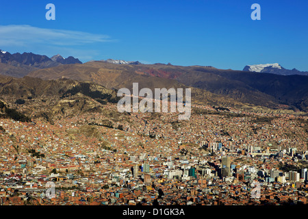 View over La Paz city with Mount Illimani in the background, Bolivia, South America - Stock Photo