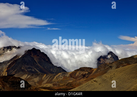 View from Mount Chacaltaya, Calahuyo, Cordillera real, Bolivia, Andes, South America - Stock Photo
