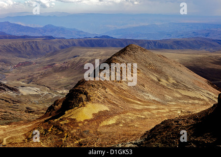 View from Mount Chacaltaya, altiplano in distance, Calahuyo near La Paz, Bolivia, Andes, South America - Stock Photo
