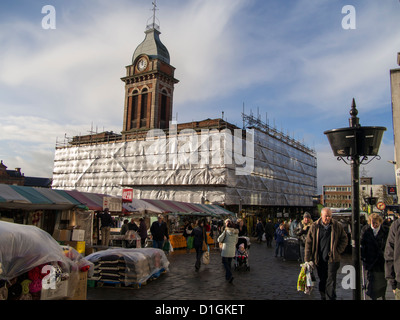 Chesterfield market hall covered in scaffold and sheeting during major refurbishment work Derbyshire England - Stock Photo
