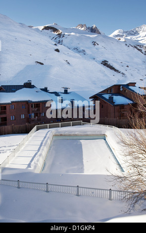 Swimming pool in Val Claret, highest village in Tignes, Savoie, Rhone-Alpes, French Alps, France, Europe - Stock Photo