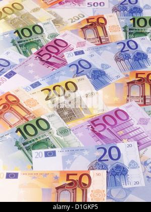 Euro money banknotes various denominations close up . - Stock Photo