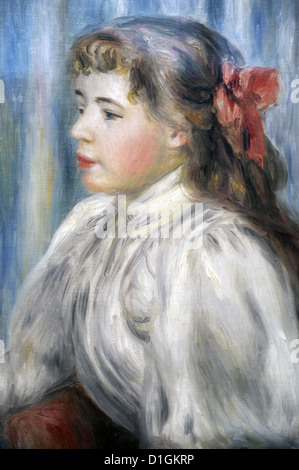 Pierre-Auguste Renoir (1841-1919). French painter. Portrait of a Girl, c.1892. Museum of Fine Arts. Budapest. Hungary. - Stock Photo