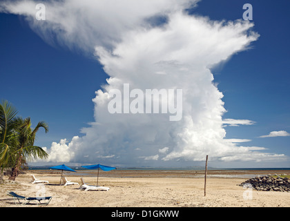 Cumulonimbus cloud taken from Nalamu Beach, Vuda Point, Fiji, Pacific Islands, Pacific - Stock Photo