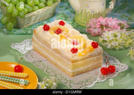 Vanilla Cake with coconut cream - Stock Photo