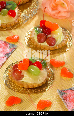 Cupcakes with pudding and fruit - Stock Photo