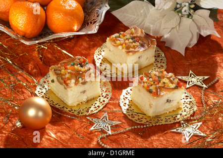 Christmas Cheesecake with raisins - Stock Photo