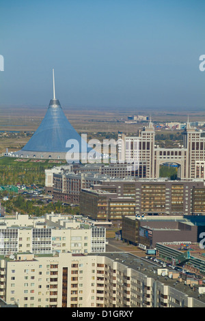 View of city center, looking towards KazMunaiGas building, and Khan Shatyr center, Astana, Kazakhstan, Central Asia - Stock Photo
