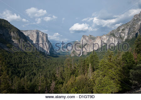 Yosemite Valley with waterfall, Yosemite National Park, Yosemite, California, United States of America, North America - Stock Photo