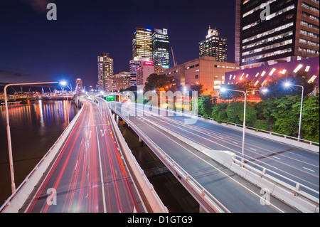 Highway in Brisbane, car light trails at night, Brisbane, Queensland, Australia, Pacific - Stock Photo