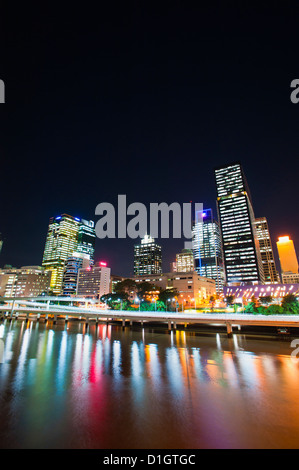 Brisbane skyline at night reflected in Brisbane River, Brisbane, Queensland, Australia, Pacific - Stock Photo