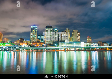 Brisbane skyline at night, taken from South Bank, Queensland, Australia, Australasia, Pacific - Stock Photo