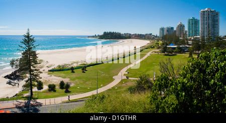Coolangatta Beach and town panoramic, Gold Coast, Queensland, Australia, Pacifc - Stock Photo