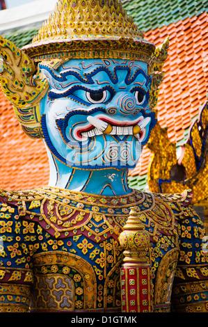 Colourful guardian statue close up, Grand Palace, Bangkok, Thailand, Southeast Asia, Asia - Stock Photo