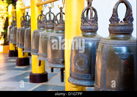 Large Buddhist prayer bells at Wat Doi Suthep Temple, Chiang Mai, Thailand, Southeast Asia, Asia - Stock Photo