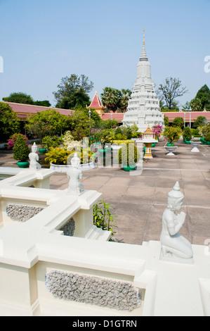 Stupa of King Norodom at The Silver Pagoda, (Temple of the Emerald Buddha), The Royal Palace, Phnom Penh, Cambodia, - Stock Photo