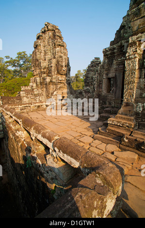 Face on a stupa at Bayon Temple, Angkor Temples, Siem Reap, Cambodia, Indochina, Southeast Asia, Asia - Stock Photo