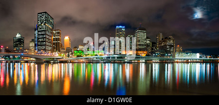 Central business district city skyline at night taken from Southbank of Brisbane, Queensland, Australia, Pacific - Stock Photo