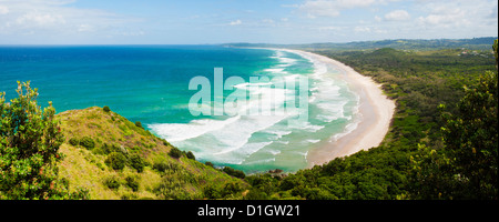 Panoramic aerial view of Tallow Beach at Byron Bay, New South Wales, Australia, Pacific - Stock Photo