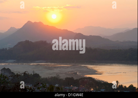 Sunset over the Mekong River from Wat Phousi, Luang Prabang, Laos, Indochina, Southeast Asia, Asia - Stock Photo