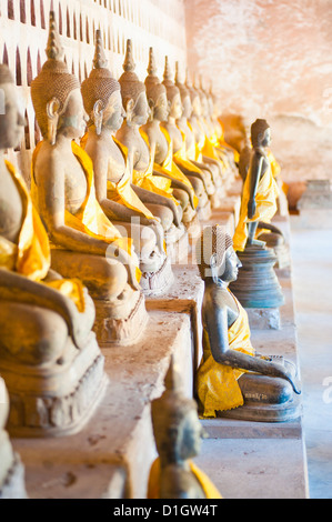 Buddhas at Wat Si Saket, the oldest temple in Vientiane, Laos, Indochina, Southeast Asia, Asia - Stock Photo