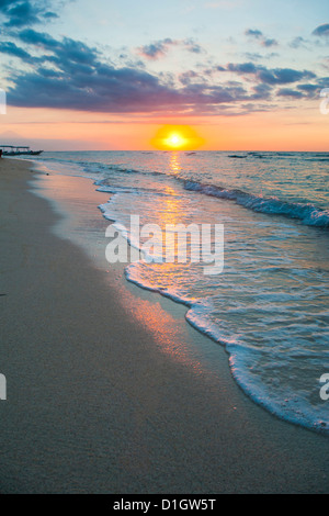 Sunset on the tropical island of Gili Trawangan, Gili Islands, Indonesia, Southeast Asia, Asia - Stock Photo