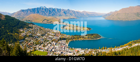 Aerial view of Queenstown, Lake Wakatipu and the Remarkable mountains, Otago Region, South Island, New Zealand, - Stock Photo