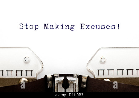 Stop Making Excuses printed on an old typewriter - Stock Photo