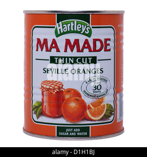 A tin of Hartley's Ma Made thin cut seville oranges on a white background - Stock Photo