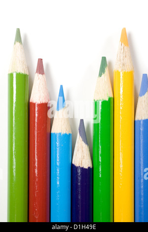 Colored Pencils Isolated on White - Stock Photo