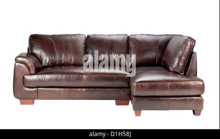 Nice and comfortable luxury genuine leather sofa bench - Stock Photo