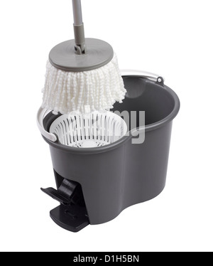 Cleaning container with mop spinning systems isolated on white background - Stock Photo