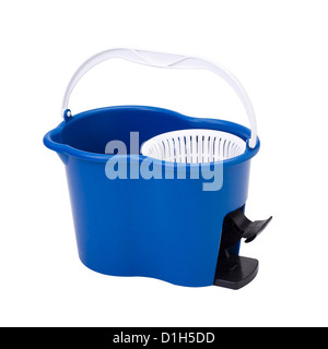Cleaning container with mop spinning systems isolated - Stock Photo