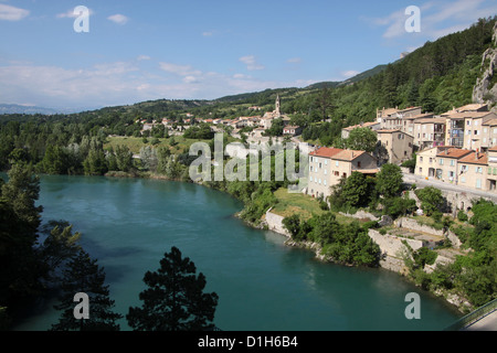 The village of Sisteron in the Alpes-de-Haute-Provence in southern France - Stock Photo