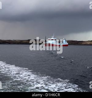 Fish Farming Well boat, Portnalong, Loch Harport, Isle of Skye, Scotland, UK