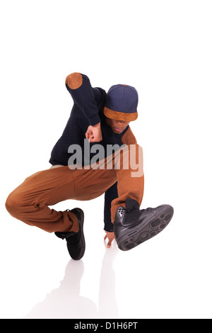 African dancer breakdance isolated over white background - Stock Photo