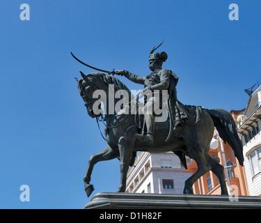 Statue of count Josip Jelacic on main square in Zagreb, Croatia. - Stock Photo