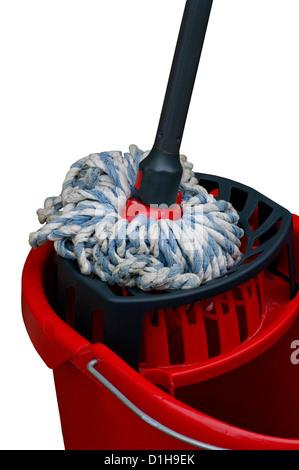 Floor Mop and Bucket - Stock Photo