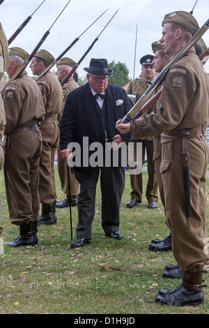 Winston Churchill inspects a Home Guard Platoon of Soldiers (Recreation) - Stock Photo