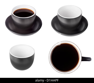 set of black coffee espresso cup with top view full and empty on white background - Stock Photo
