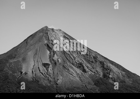 Black and white closeup of the top of conception volcano on ometepe island nicaragua
