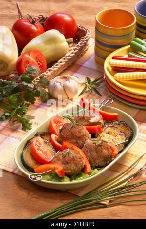 Meatballs with eggplant - Stock Photo