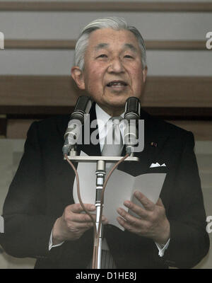 Dec. 23, 2012 - Tokyo, Japan - Japanese Emperor AKIHITO greets the well-wishers on his 79th birthday at the palace - Stock Photo