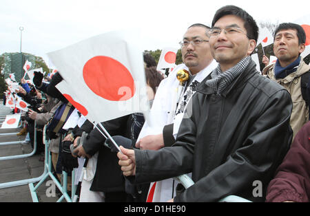Dec. 23, 2012 - Tokyo, Japan - Well-wishers celebrate 79th birthday of the Japanese Emperor Akihito at the palace - Stock Photo