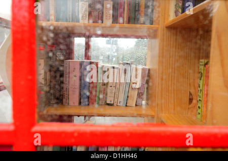 Red Telephone Box,Book Exchange .Hoveringham Nottinghamshire. - Stock Photo