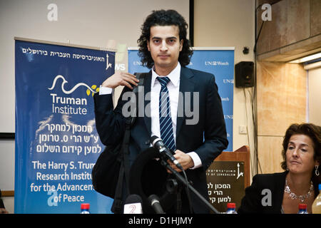 Maikel Nabil Sanad enters a press conference at the Hebrew University's Mount Scopus Truman Institute. Following - Stock Photo