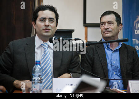UN Watch Executive Director Hillel Neuer (L) introduces Egyptian human rights dissident Maikel Nabil Sanad; 'Mr. - Stock Photo